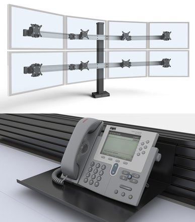 Monitor arms and slat wall accessories for control room furniture