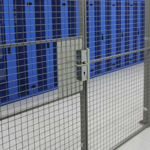 wire mesh data center fencing cage enclosing servers
