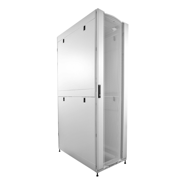 Enconnex Server Rack White Front Angle Profile With Mesh Cabinet