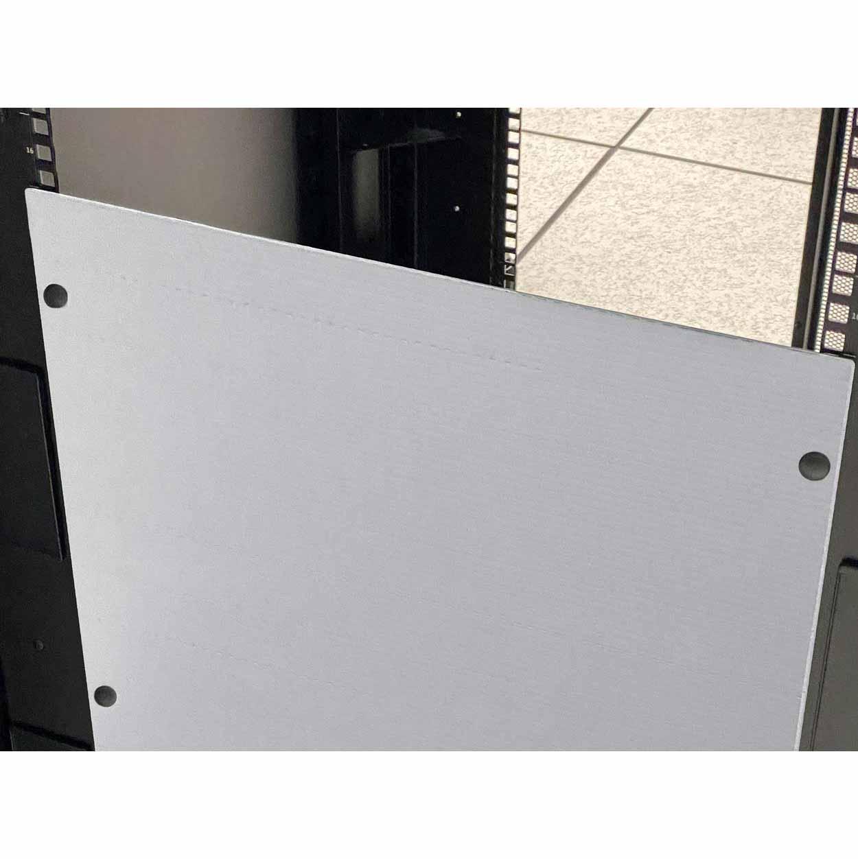Rackfill white blanking panel in data center server rack