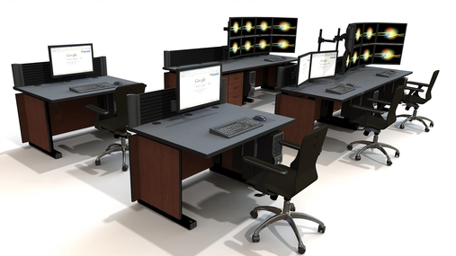 A control room furniture design with chairs and monitor arms for EOC and NOC