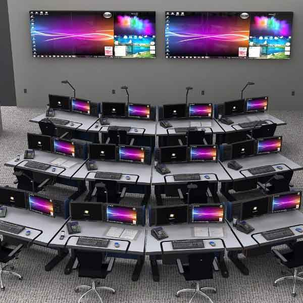 Adjustable control room console furniture with desk, chairs, monitors and video wall in control room