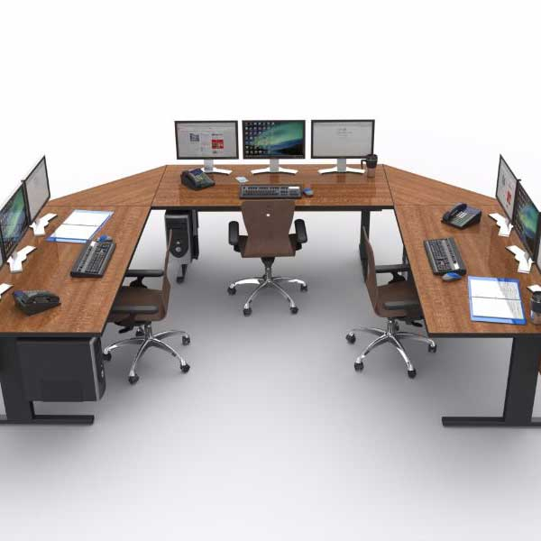 U Shaped control room console furniture with chairs and monitors