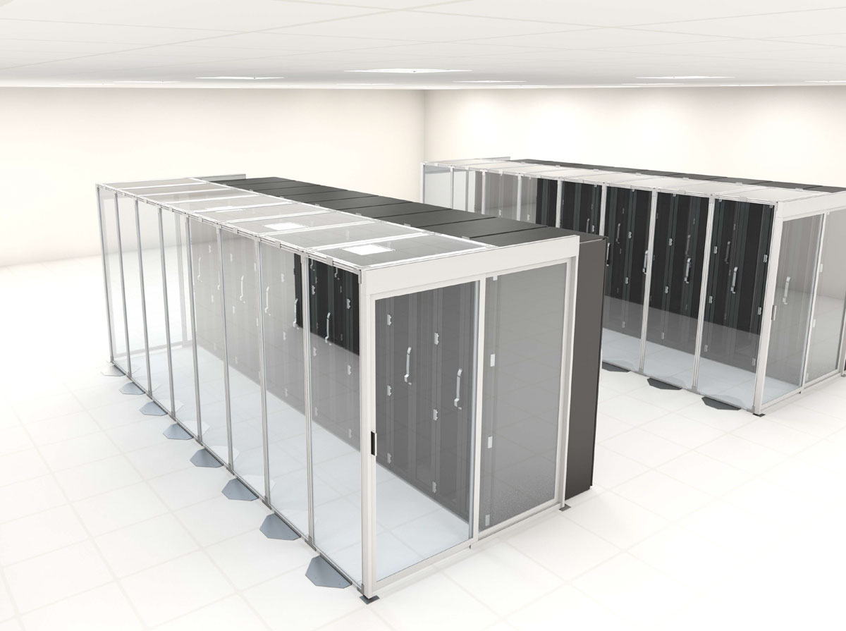 Self supported data center aisle containment panel wall with barrier panels, doors and server racks