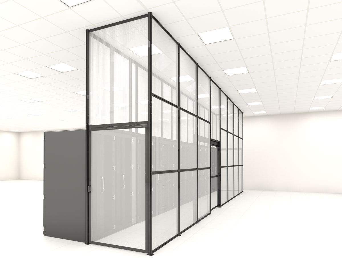Aisle containment panel wall and doors in a data center