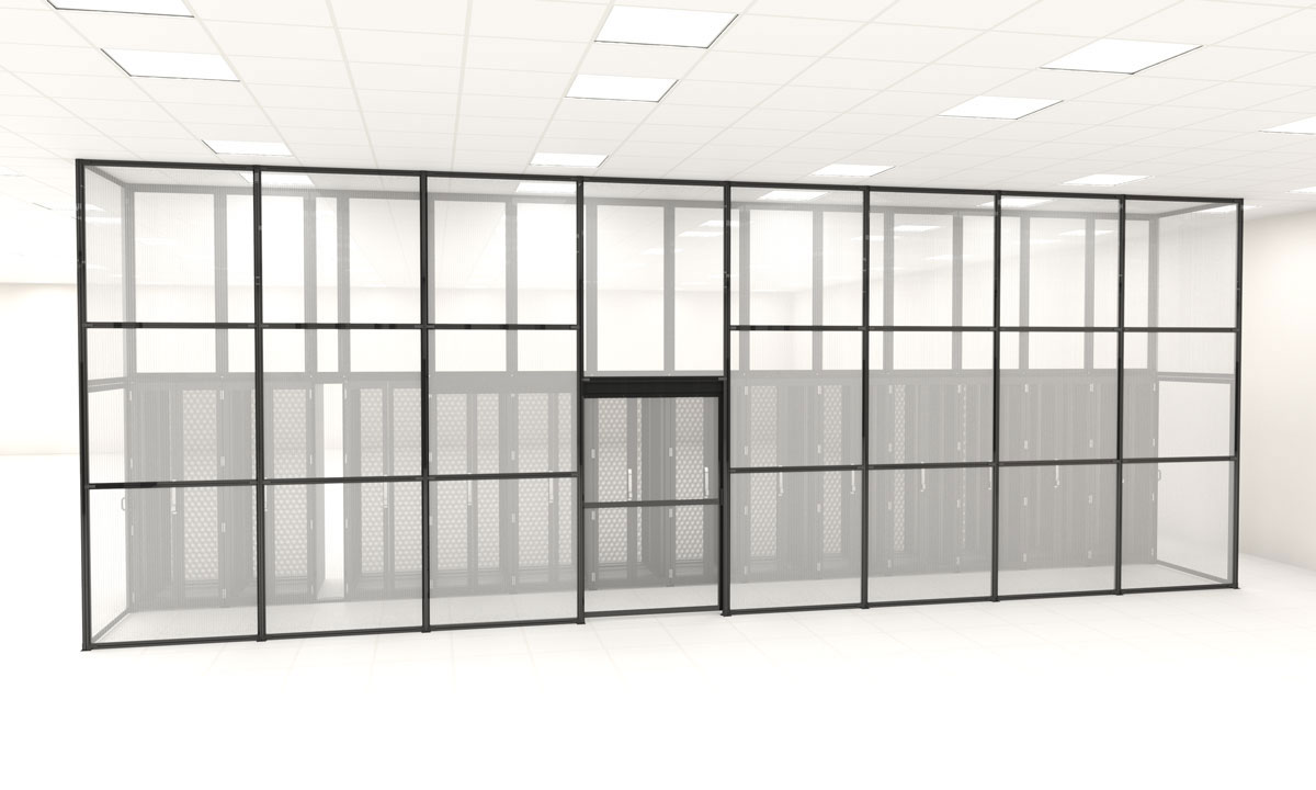 Floor to ceiling aisle containment panel wall in a data center