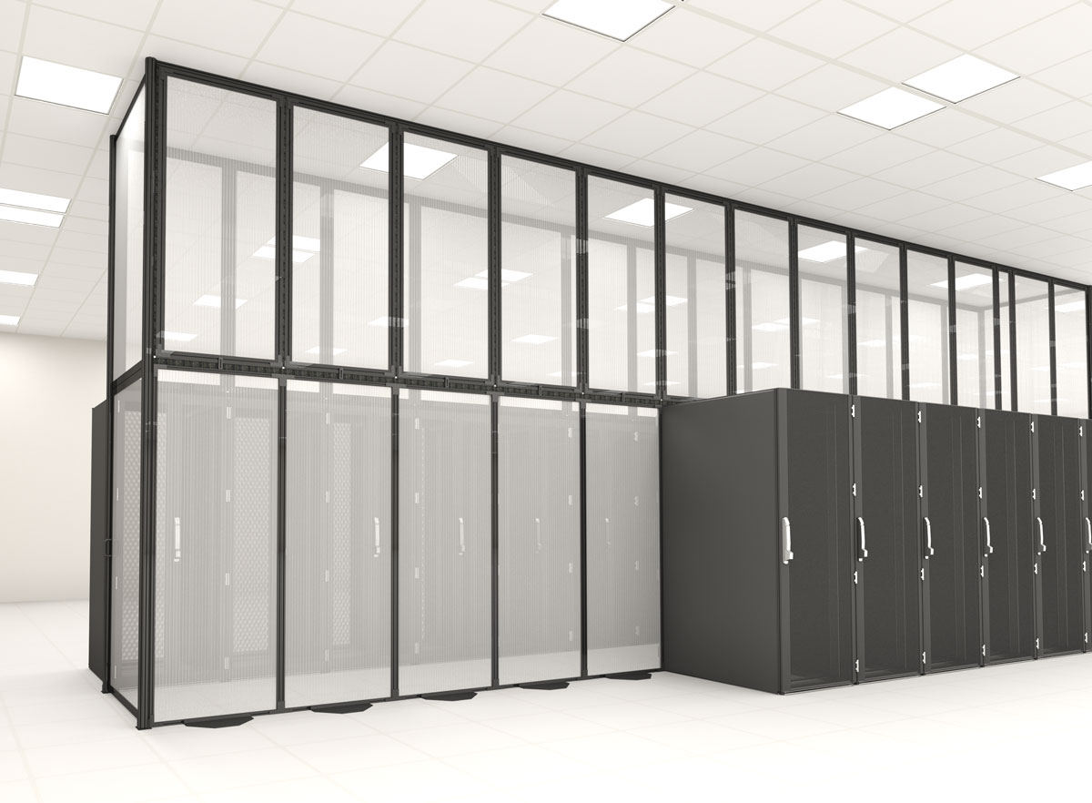 Floor to ceiling data center aisle containment panel barrier wall with black server racks