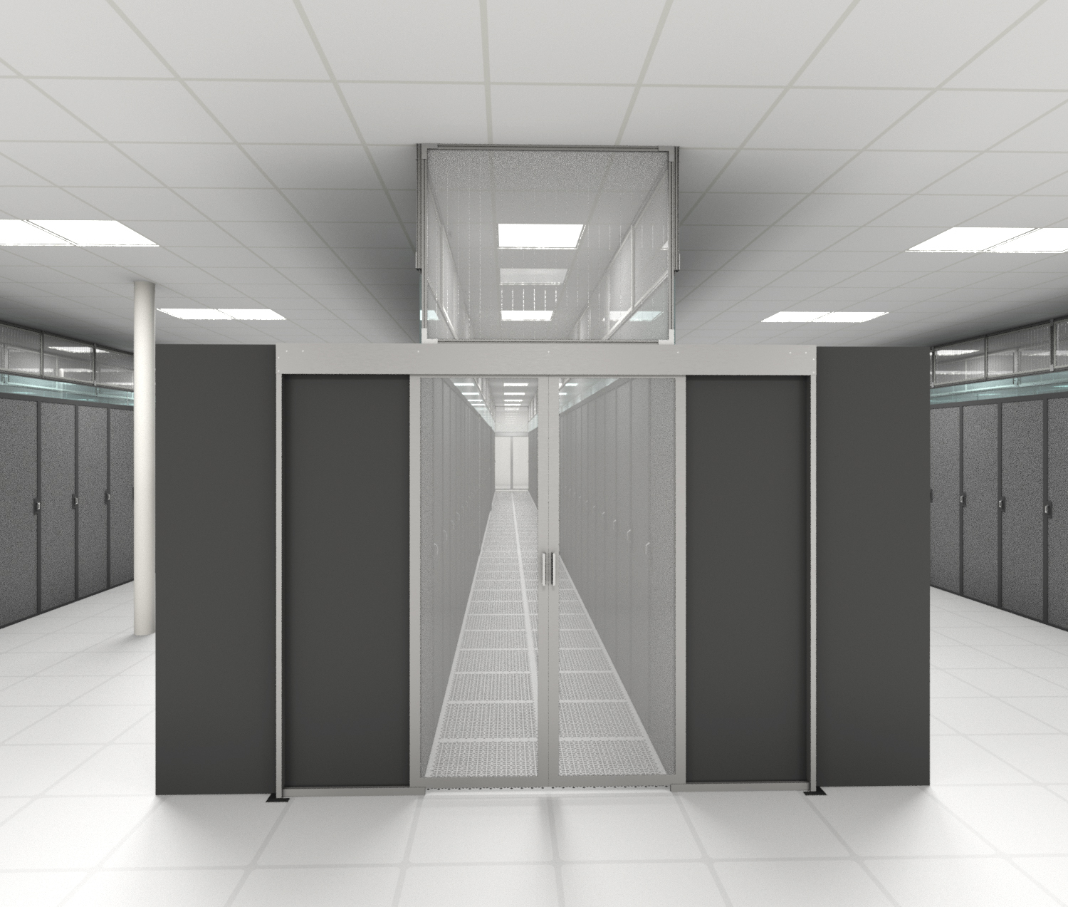 Double Sliding Containment Door Data Center Aisle