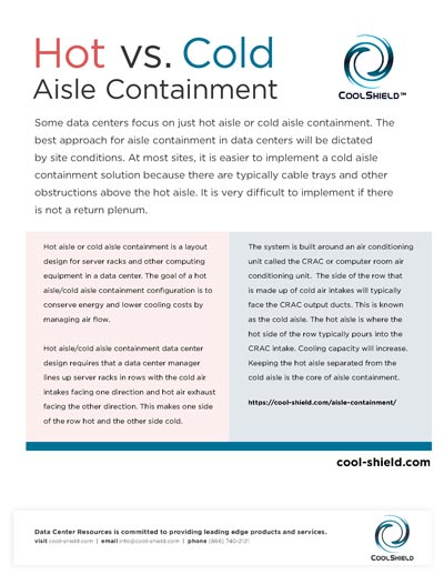 A diagram showing the benefits of hot vs cold aisle containment.