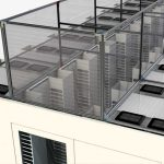 Fixed vertical aisle containment panels above server racks