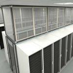 Sliding vertical aisle containment panels above server racks in a data center
