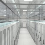 Data Center server row rendering with thermal drop aisle containment panels