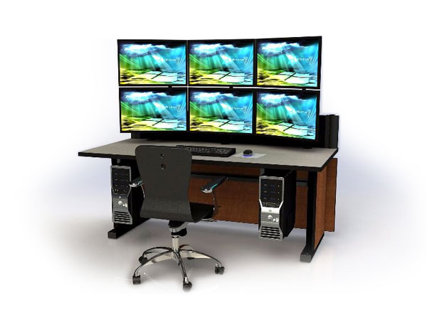 wood tone console furniture with monitors and chair