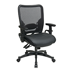 Dual Function Ergo Airgrid Leather Chair Front
