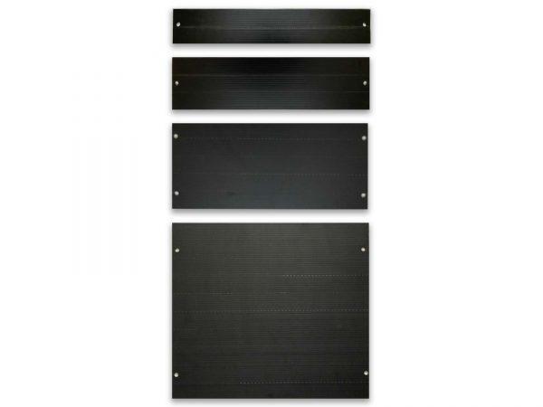 Individual black blanking panels on white