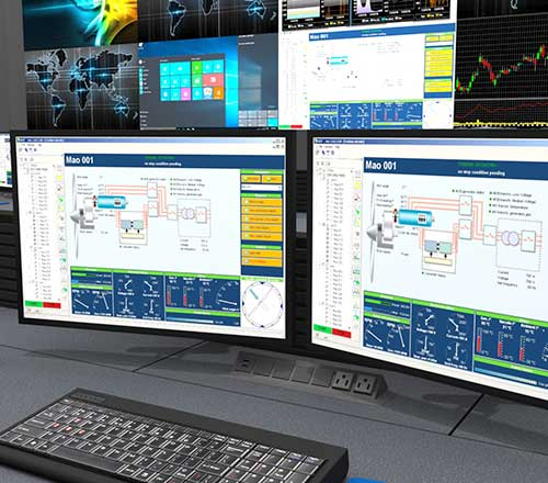 Birds eye view rendering of control room with SCADA & DCS